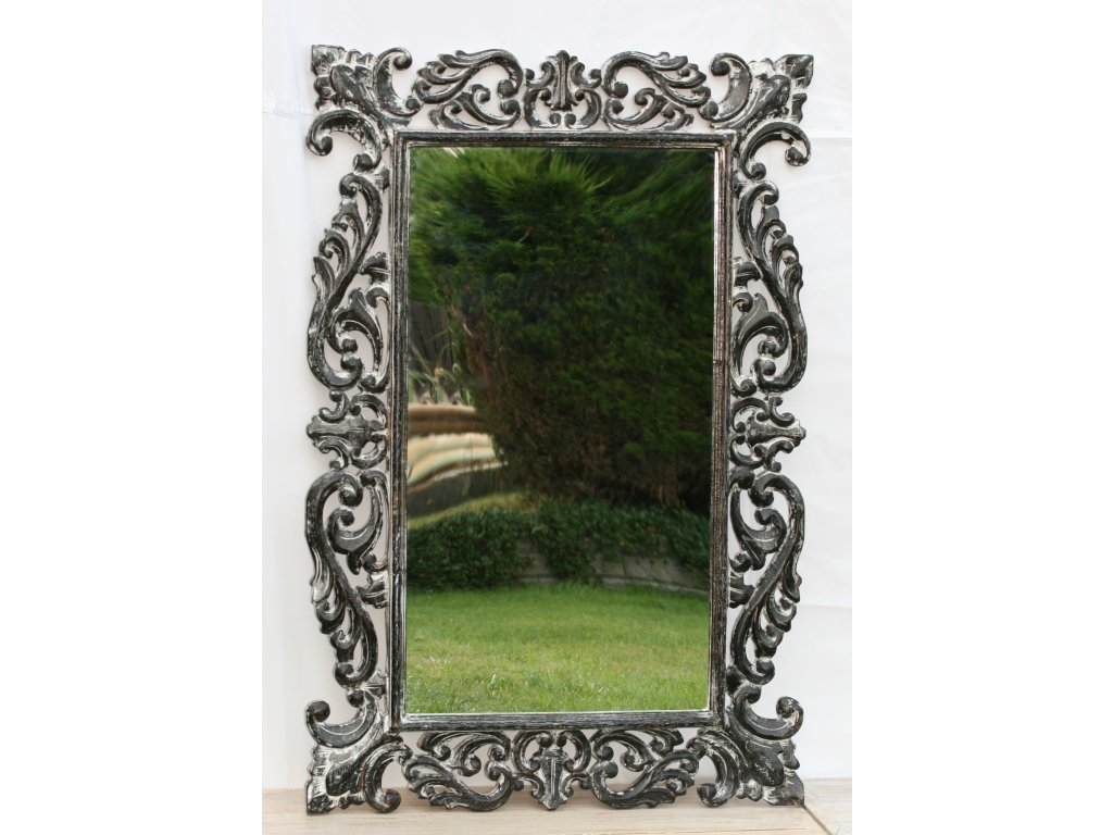 Dřevěné zrcadlo masiv s řezbou model 67 120x80cm