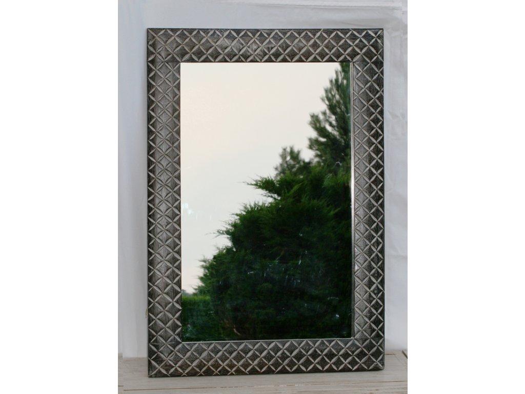 Dřevěné zrcadlo masiv s řezbou model 25 100x70cm