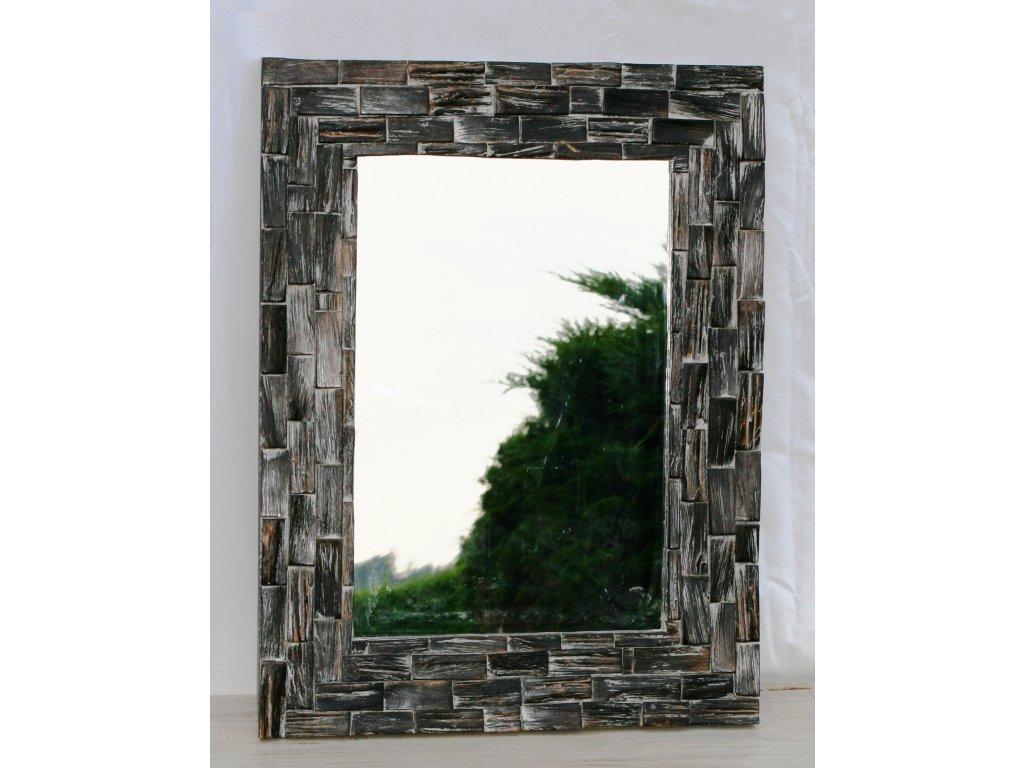 Dřevěné zrcadlo masiv teak model 28 80x60cm
