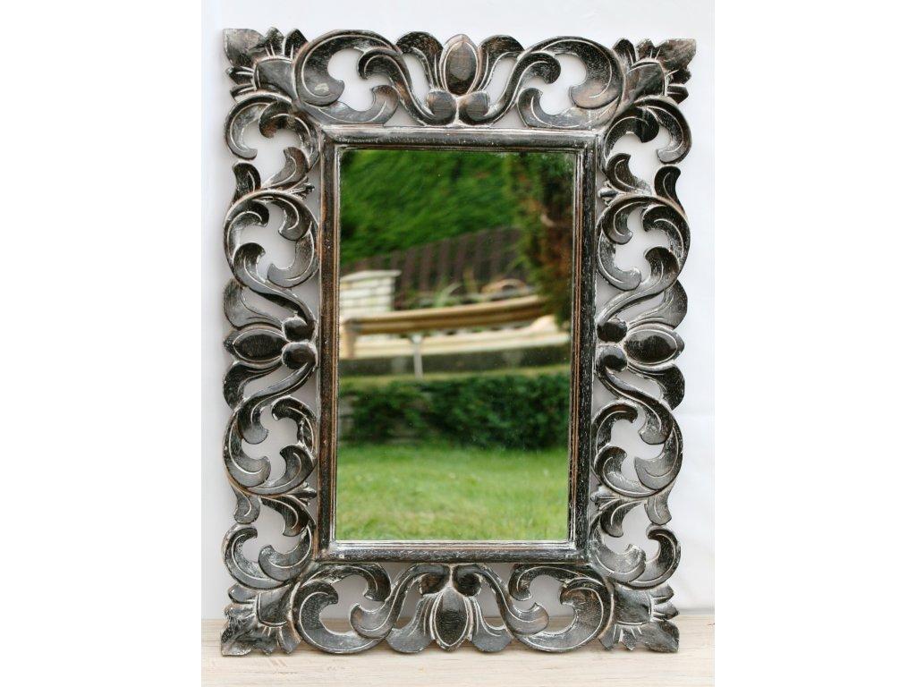 Dřevěné zrcadlo masiv s řezbou model 43 80x60cm