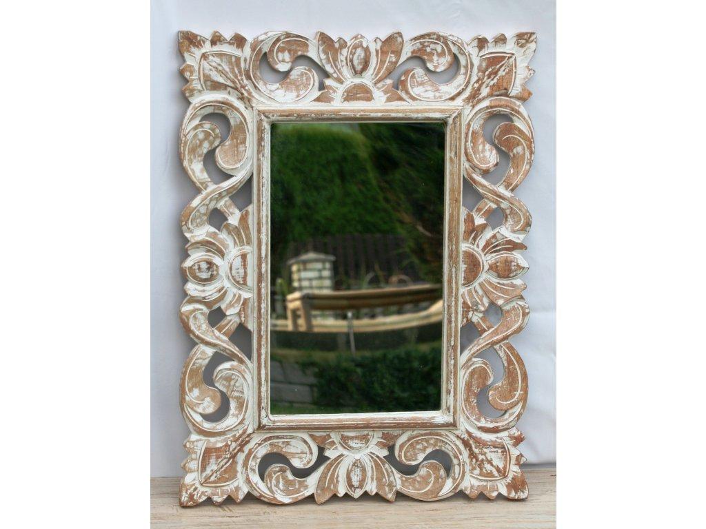 Dřevěné zrcadlo masiv s řezbou model 36 80x60cm