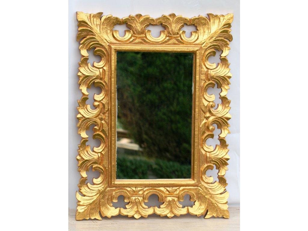 Dřevěné zrcadlo masiv s řezbou model 35 80x65cm