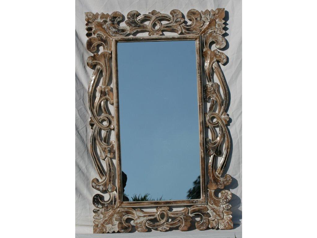 Dřevěné zrcadlo masiv s řezbou model 09 110x70cm