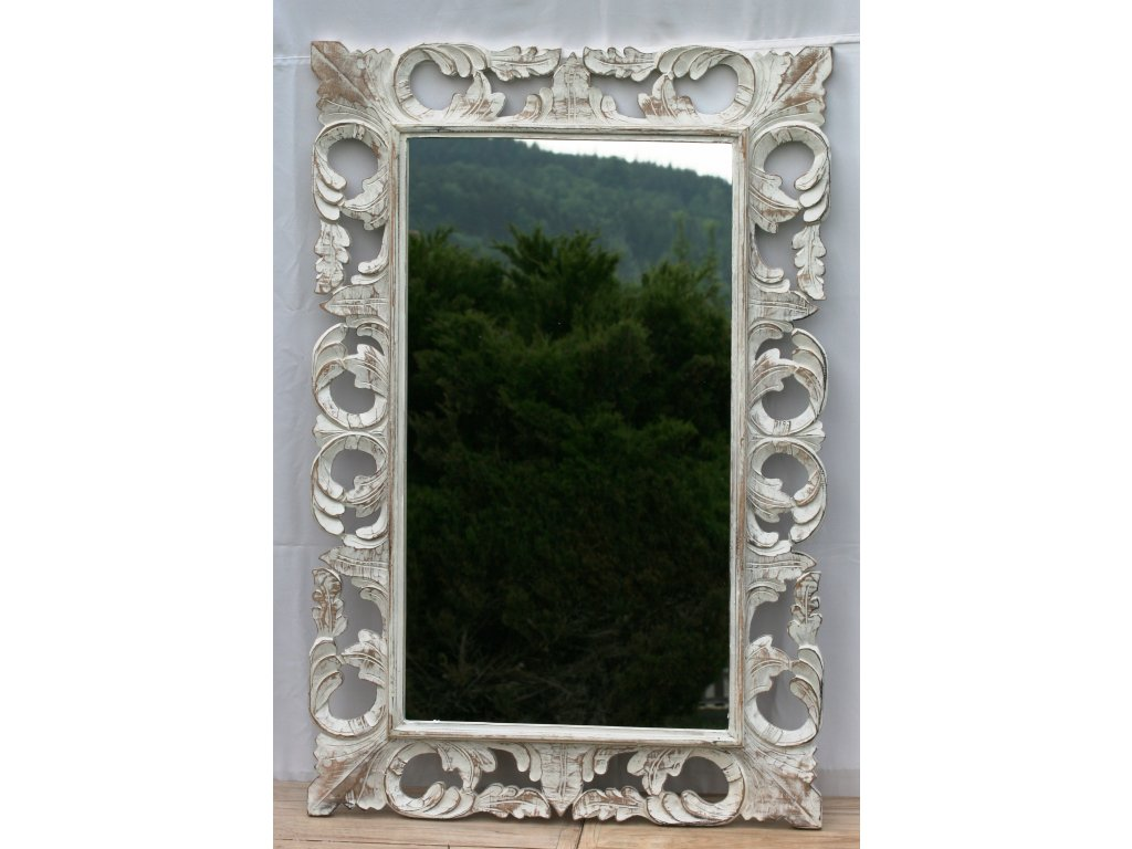 Dřevěné zrcadlo masiv s řezbou model 63 120x80cm