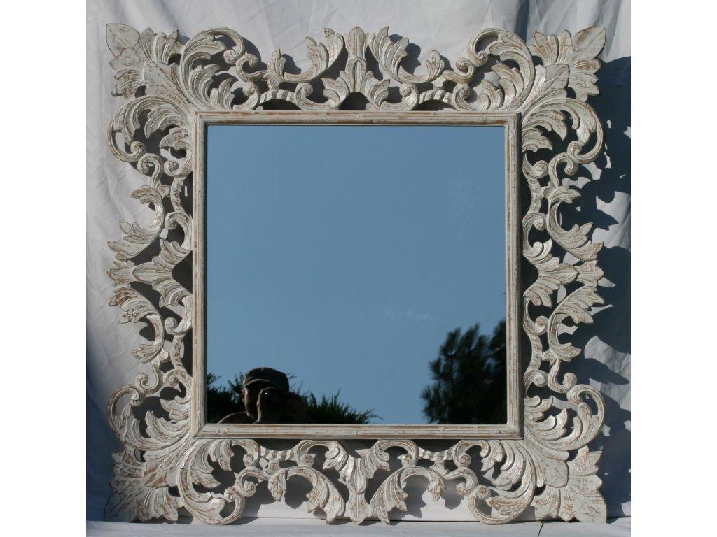 Dřevěné zrcadlo masiv s řezbou model 14 100x100cm