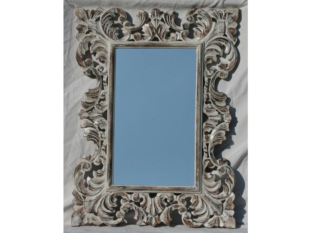 Dřevěné zrcadlo masiv s řezbou model 16 80x60cm