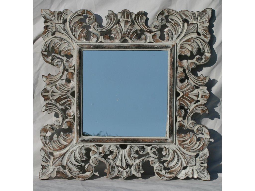 Dřevěné zrcadlo masiv s řezbou model 17 60x60cm