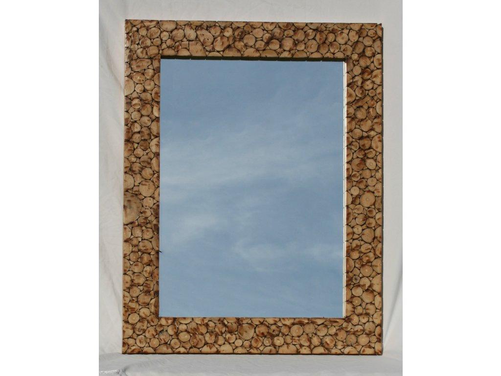 Dřevěné zrcadlo masiv vykládané kávovým dřevem model 74 90x70cm