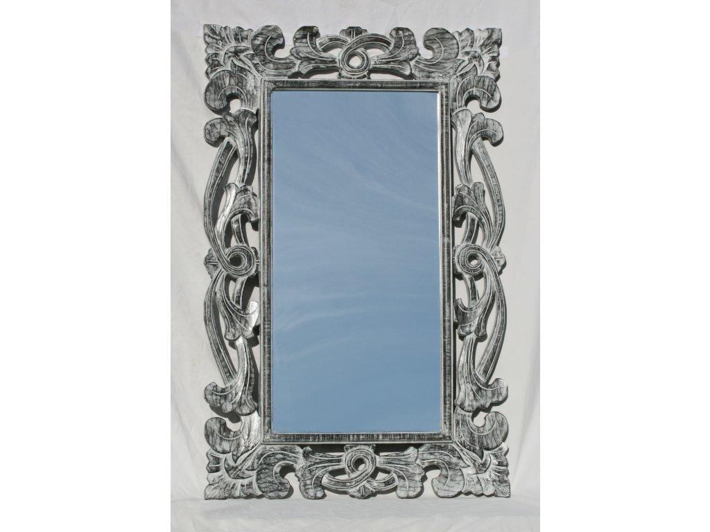 Dřevěné zrcadlo masiv s řezbou model 75 110x70cm