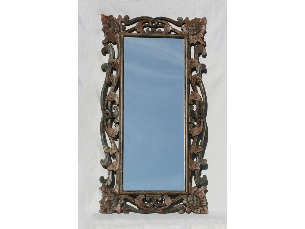 Dřevěné zrcadlo masiv s řezbou model 78 70x130cm