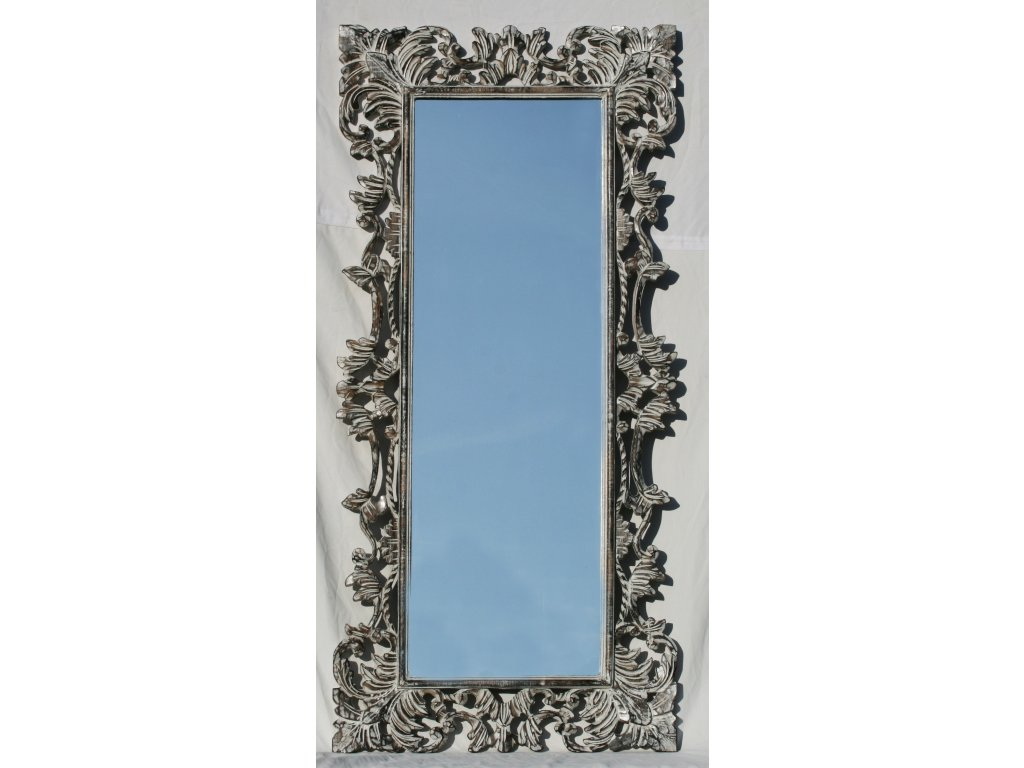 Dřevěné zrcadlo masiv s řezbou model 85 150x70cm
