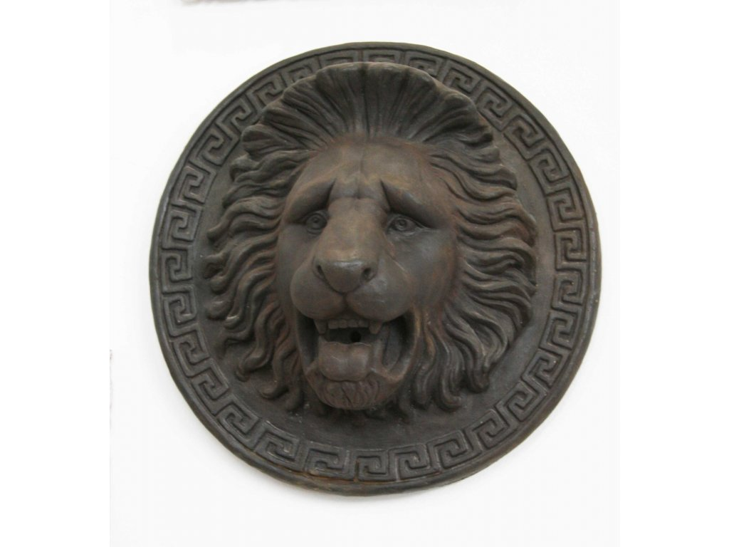 Plastika lev 2v1 socha + chrlič vody - lví hlava průměr 60cm patina DB