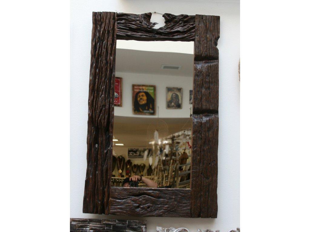 Dřevěné zrcadlo teak ze starých železničních pražců 120x78cm