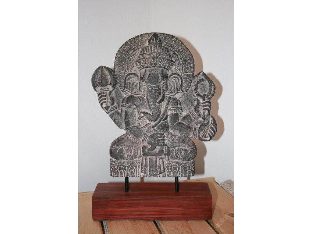 Socha kamenná plastika Ganesha na podstavci 35x23cm