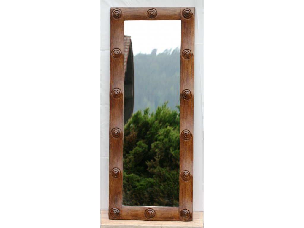 Dřevěné zrcadlo masiv s řezbou model 119 150x80cm