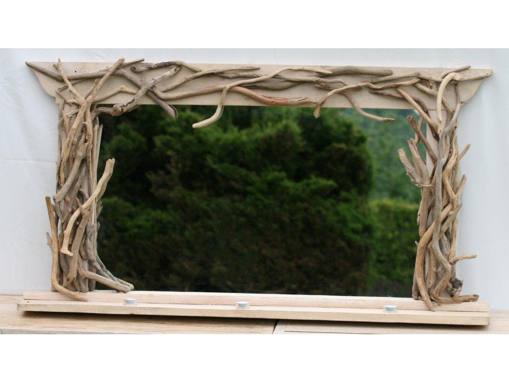 Zrcadlo s poličkou z vyplaveného dřeva model 56 130x70cm