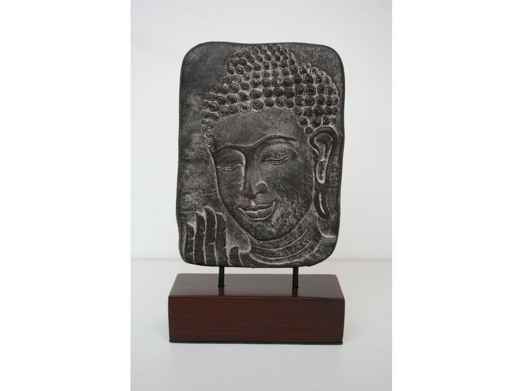 Socha kamenná plastika Budha na podstavci 30x24cm