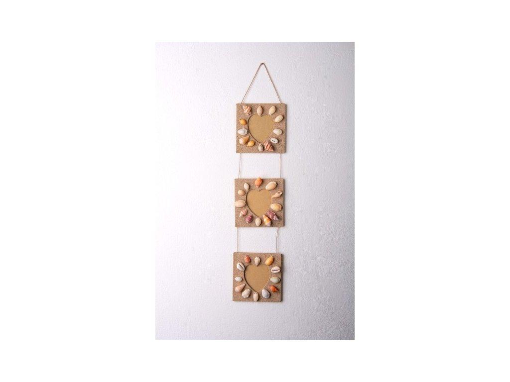 Set tří rámečků z písku a mušlí srdce výška 53cm, rám 11x11cm