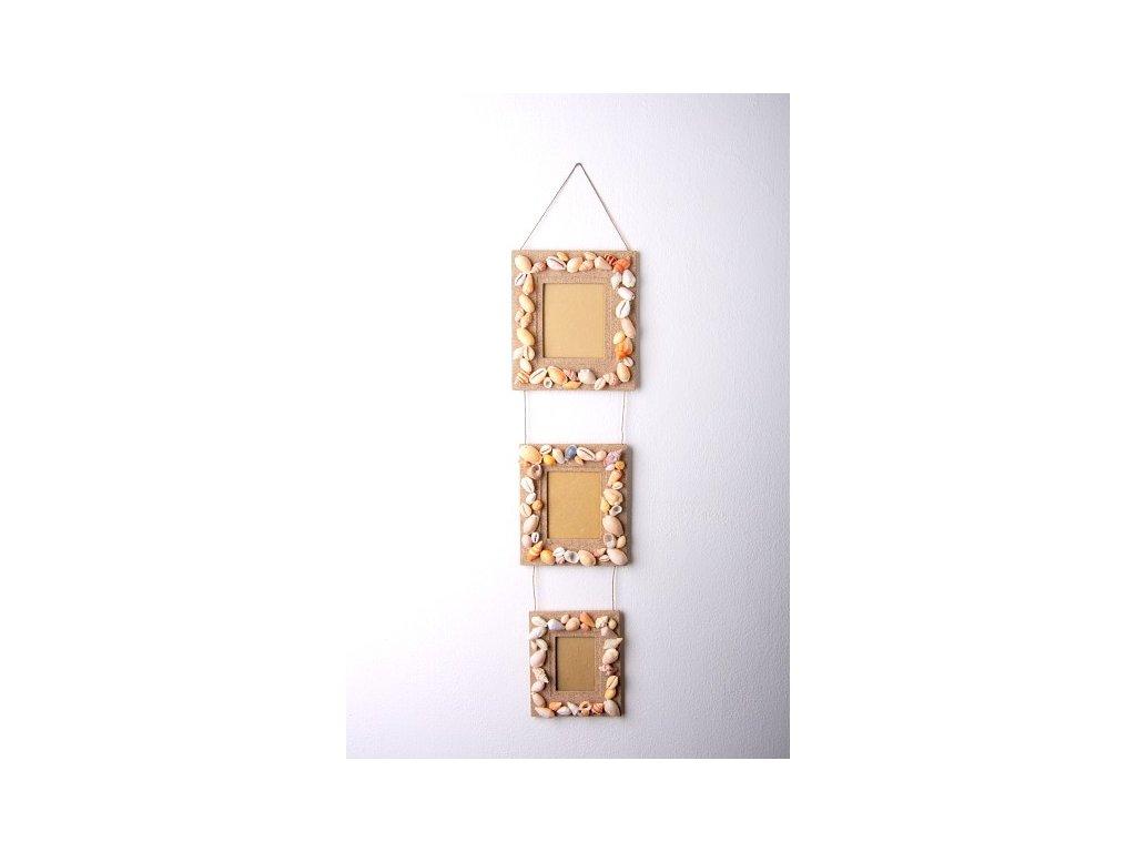 Set tří rámečků z písku a mušlí výška 70cm, rám 18x16cm