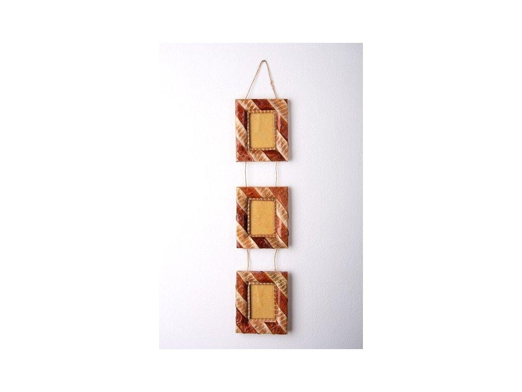 Set tří rámečků z listů výška 63cm, rám 16x12cm