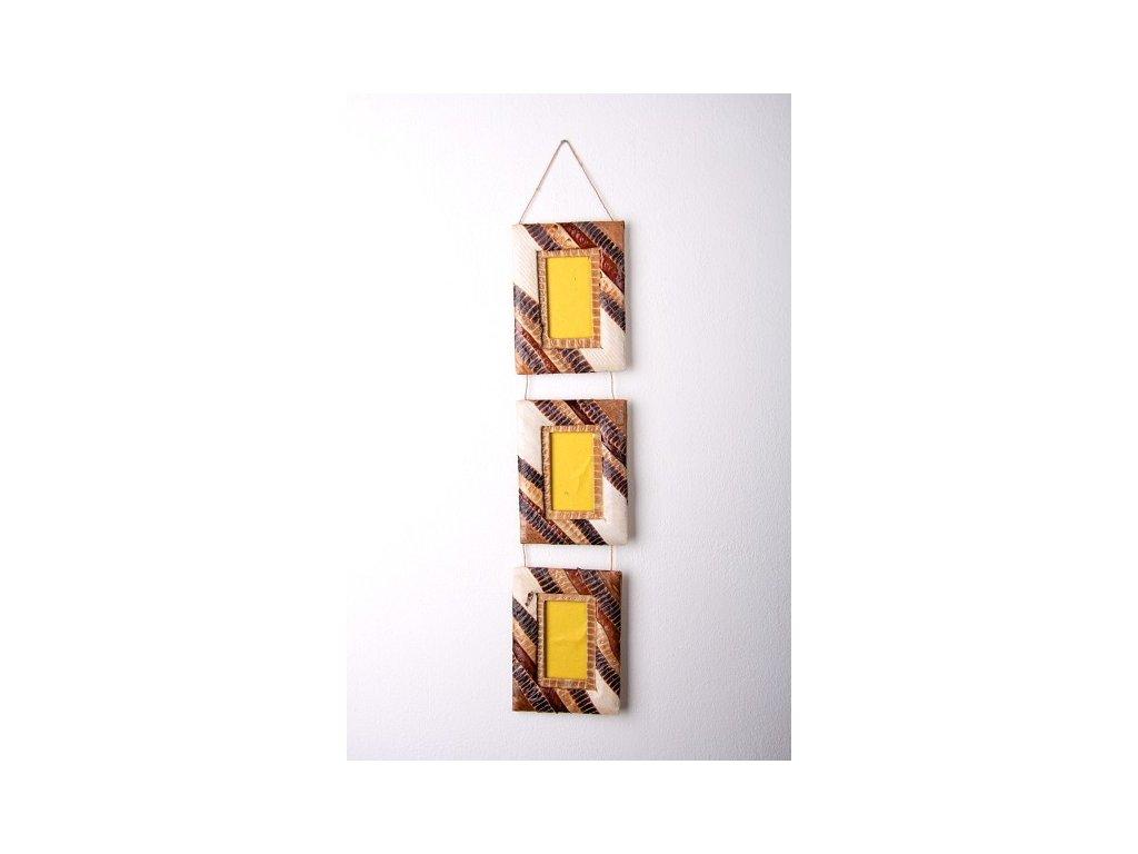 Set tří rámečků z listů výška 64cm, rám 16x12cm