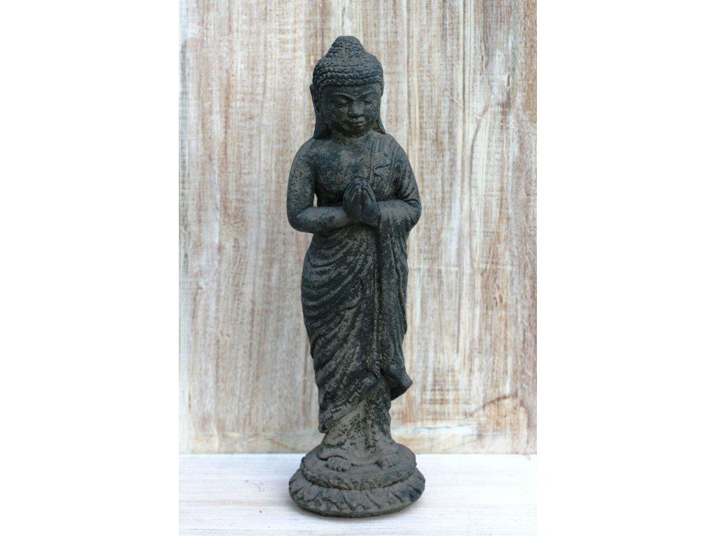 Socha Budha Buddha stojící 40cm patina grey