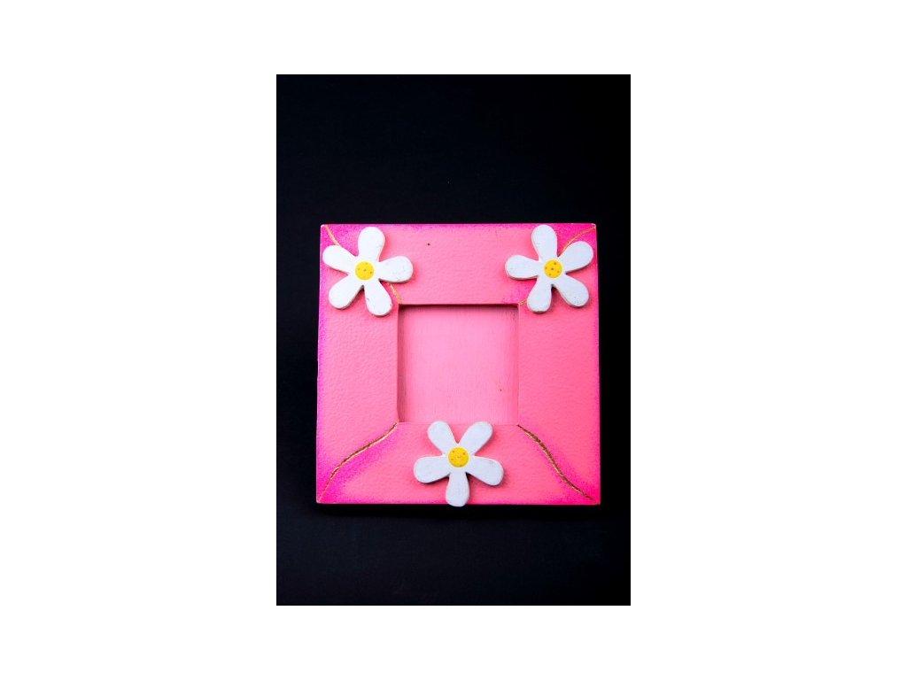 Dřevěný zdobený fotorámeček růžový 15x15cm
