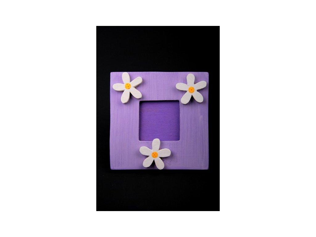 Dřevěný zdobený fotorámeček fialový 20x20cm