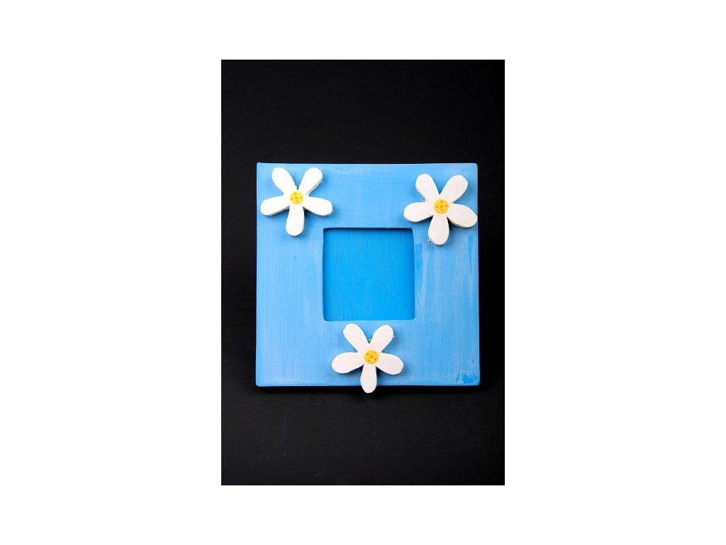 Dřevěný zdobený fotorámeček modrý 20x20cm