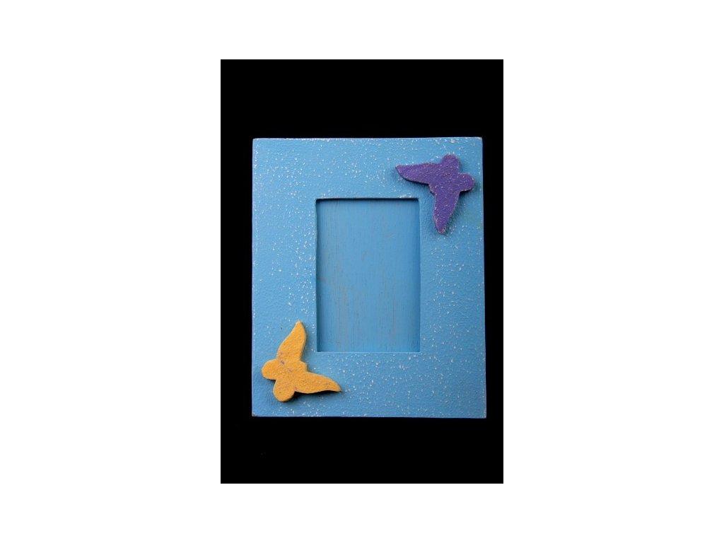 Dřevěný zdobený fotorámeček modrý 15x17cm