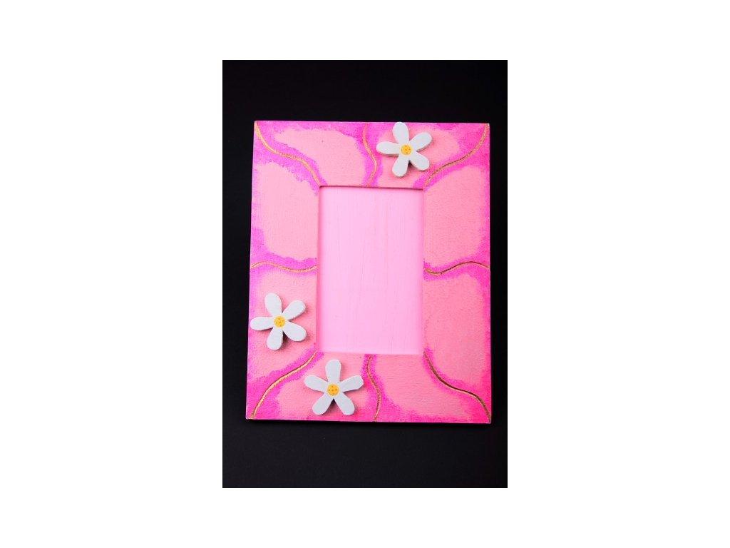 Dřevěný zdobený fotorámeček růžový  s vlnkou 15x17cm