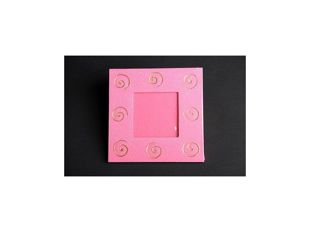 Dřevěný zdobený fotorámeček růžový se spirálou 15x15cm