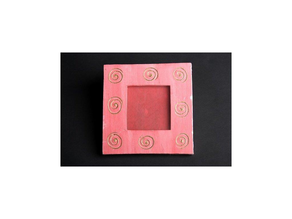 Dřevěný zdobený fotorámeček růžový se spirálou 20x20cm