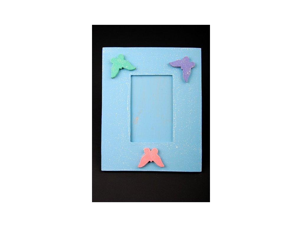 Dřevěný zdobený fotorámeček modrý 25x20cm