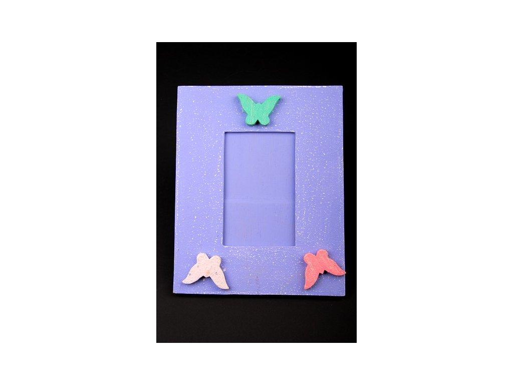 Dřevěný zdobený fotorámeček fialový 25x20cm