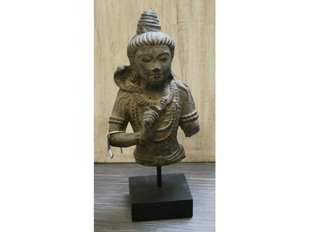 Socha Shiva na dřevěném podstavci 40cm patina BY