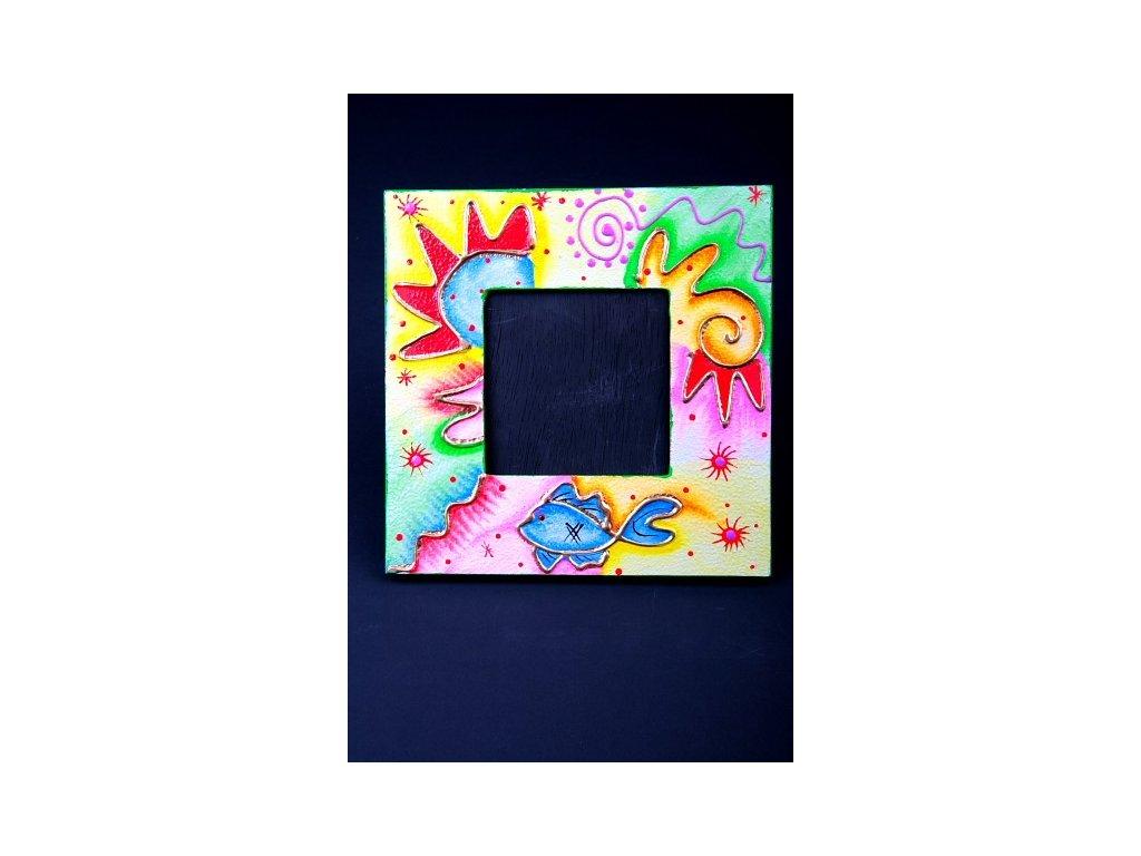 Dřevěný ručně malovaný fotorámeček 20x20cm