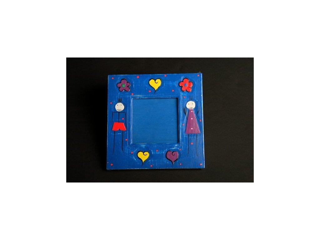 Dřevěný ručně malovaný fotorámeček modrý 20x20cm