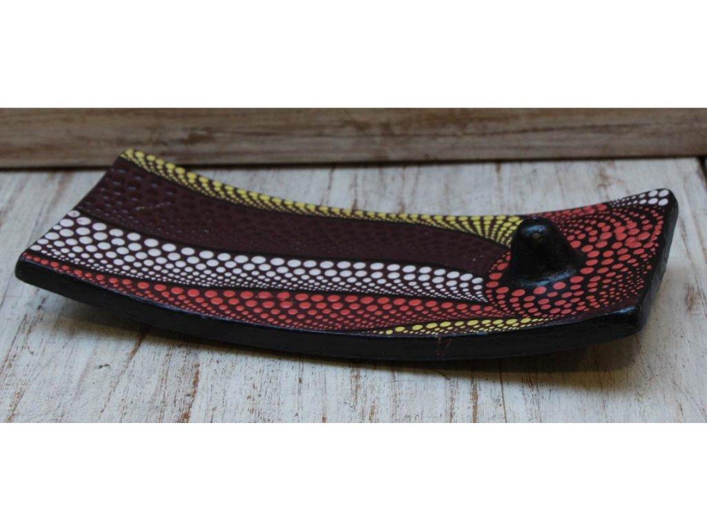 Stojánek na vonné tyčinky červeno-hnědý 24x10cm