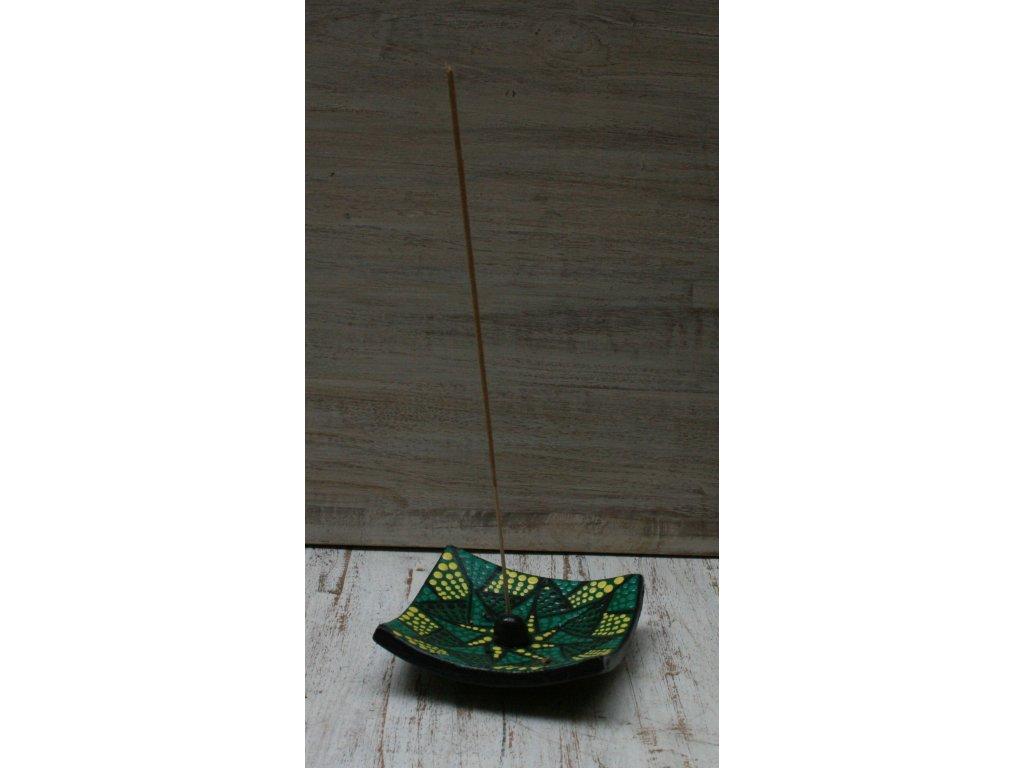 Stojánek na vonné tyčinky zelená 10x10cm