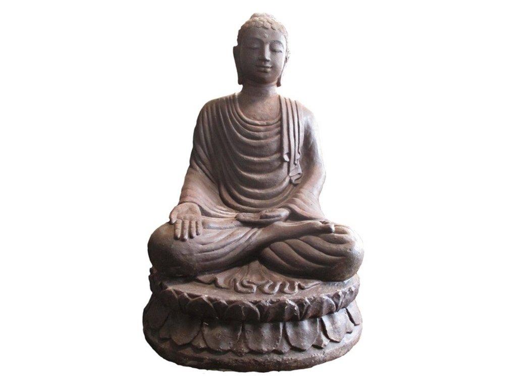 Socha Budha Buddha balancing na lotosovém květu 100cm patina DB