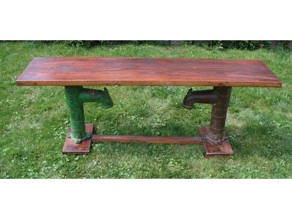 Stůl a lavice 2v1 - stolová konzola recycle teak 153x38x59cm