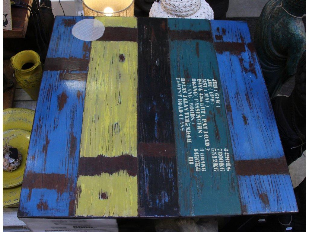 Stůl recycle teak z korby náklaďáku 90x90x78cm