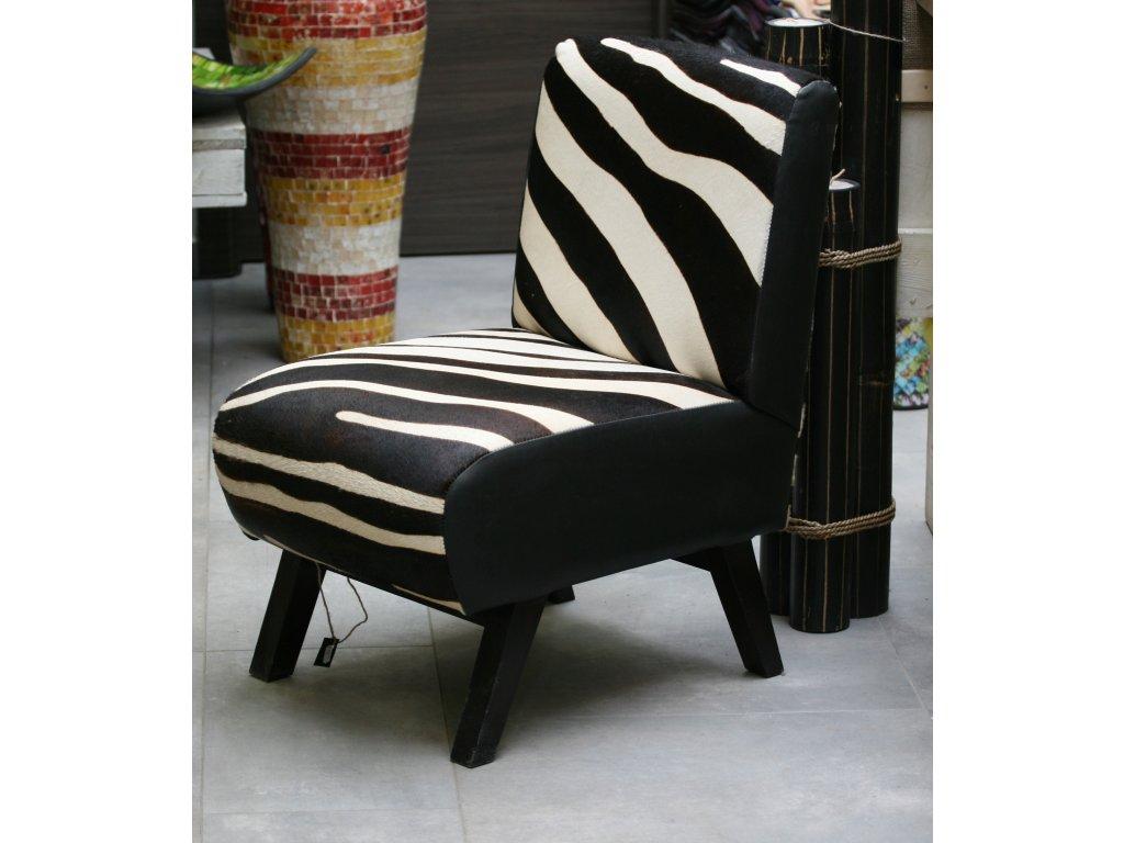 Dřevěné kožené křeslo s motivem zebra 78x48x60cm