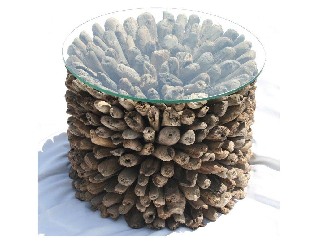 Konferenční stůl z vyplaveného dřeva průměr 50cm