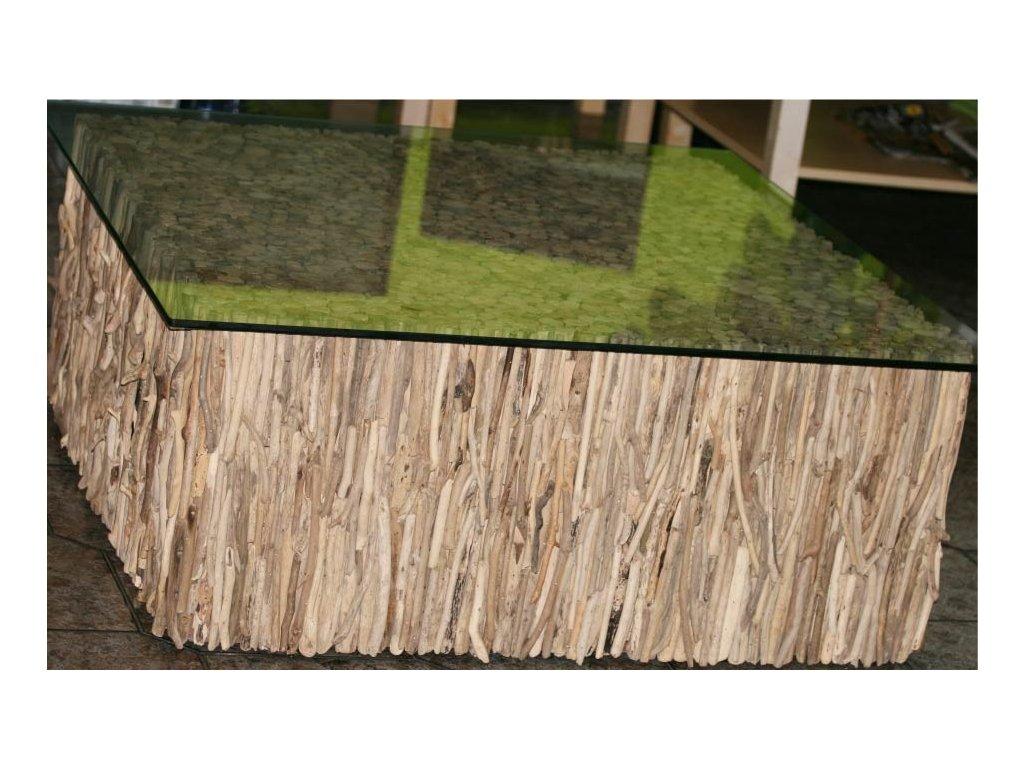 Konferenční stůl z vyplaveného dřeva 100x100cm