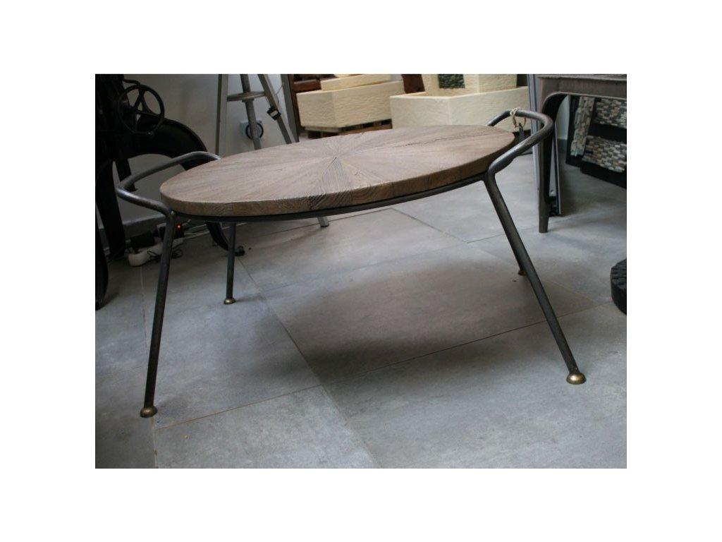 Konferenční stůl z recyklovaného teaku a kovu 66cm výška 40cm