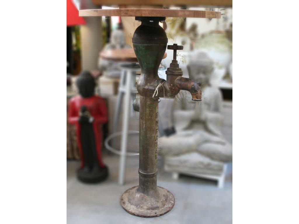 Industriální barový stůl z recyklované pumpy průměr 55cm, výška 88cm