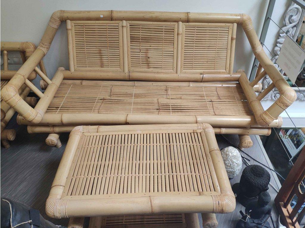 Bambusový set - sofa , 2x křeslo, stůl se skleněnou deskou