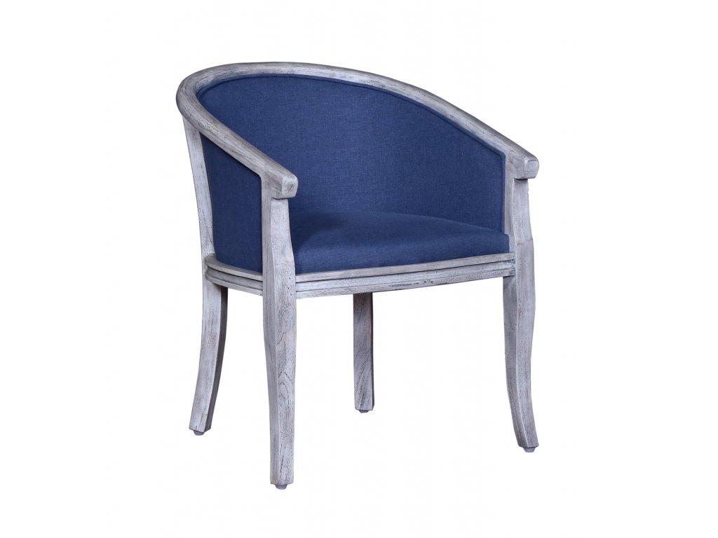 Masivní židle křesílko s polstrováním 60x60x74cm white blue